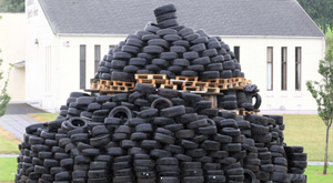 The bonfire in Ballymena made up almost completely of tyres