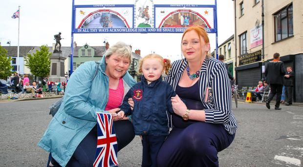 Dromore hosted the main 12th July demonstration in Co. Down. Pictured: Three generations of loyal ladies, Stephanie Murray (Nanny), Emma Wharton (Mum), and Lily Wharton. Picture: Philip Magowan