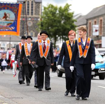 Orangewomen and men of Tully LOL 335 stepping out in Portglenone's 12th of July celebrations. PICTURE BY STEPHEN DAVISON/Pacemaker
