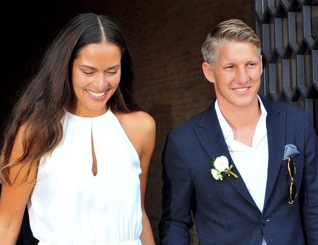 Euro 2016 may have ended in agony for German captain Bastian Schweinsteiger - but he put the heartbreak behind him as he wed tennis star Ana Ivanovic in the romantic surroundings of Venice yesterday