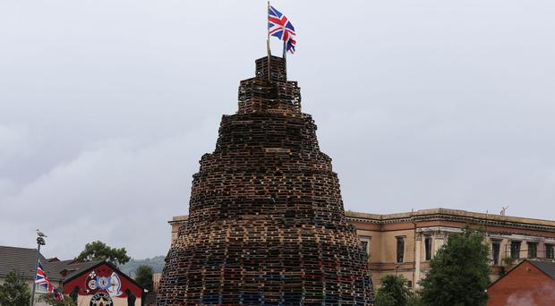 A bonfire built in the Hopewell area in the Lower Shankill, Belfast