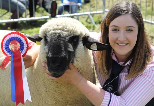 Hannah Robinson with her champion Hampshire Down