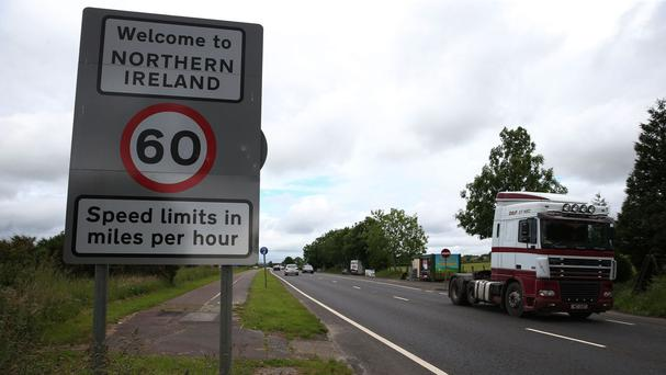 Traffic crosses the border between the Republic of Ireland and Northern Ireland