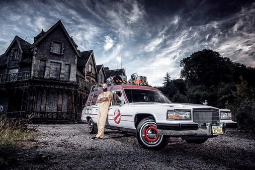 Mike Barr with the hearse he converted into a replica of the Ghostbusters car Pic: Reinis Babrovskis