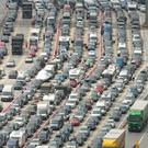 Vehicles queuing at the Port of Dover in Kent, where motorists faced 12-mile tailbacks and 15-hour waits