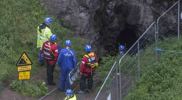 The scene at Dunluce Castle where the man suffered serious injuries after falling from a cliff path. Coastguard teams from Ballycastle, Coleraine and Prestwick in Scotland were all involved in the rescue operation