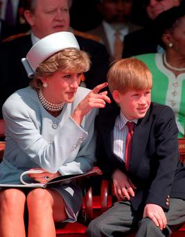 Prince Harry with his late mother Princess Diana in 1995