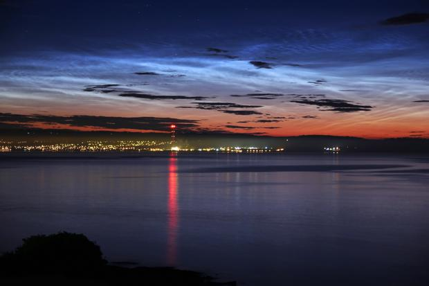 A picture of noctilucent Clouds (NLCs) taken by Andy McCrea
