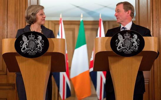 Prime Minister Theresa May with Taoiseach Enda Kenny at Downing Street yesterday