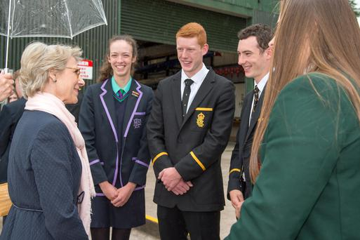 The Duchess of Gloucester meeting students from Enniskillen schools that row at Portora Boat Club