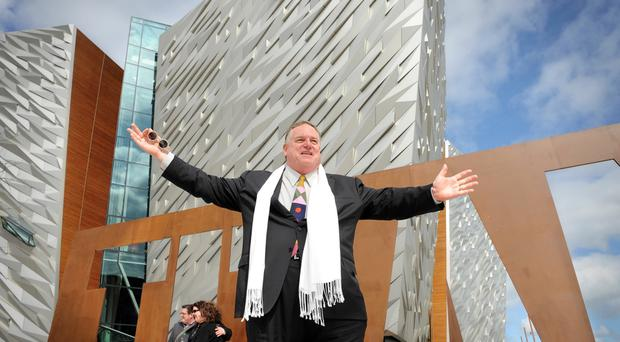 Architect Eric Kuhne in front of the now famous Titanic Belfast building