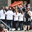 Mourners carry Lorraine's coffin