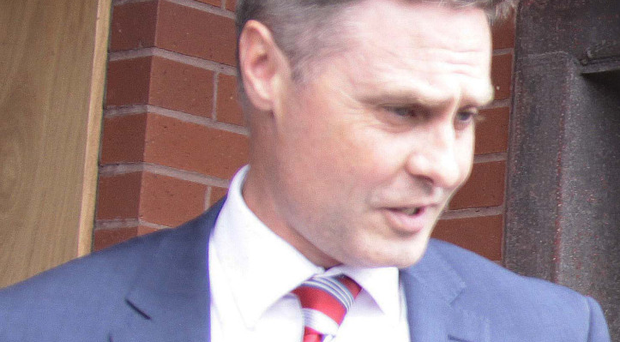 DUP MLA Paul Frew leaves Coleraine Court yesterday