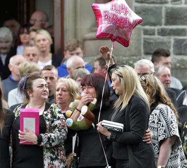 The funeral of Donegal crash victim Teresa Robinson at St Patrick's Church, Killygordon, Co Donegal yesterday