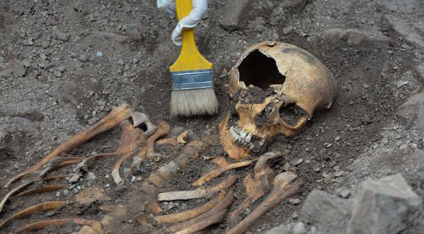 An archaeologist works around the ancient skeleton