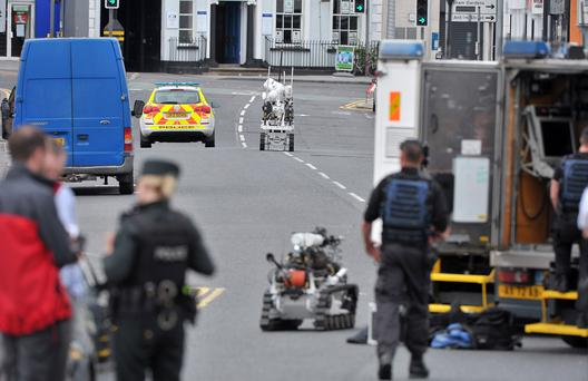 Bomb disposal experts at the scene in Lisburn
