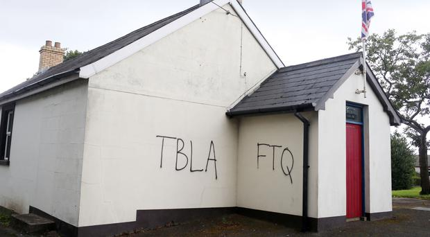 Slogans daubed on Dungonnell Orange hall (pictured) near Antrim and Flowerhill Orange hall in Lisburn by sectarian vandals