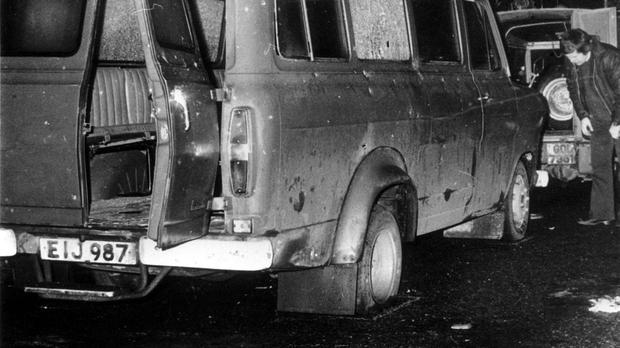 The bullet riddled minibus near Whitecross in South Armagh where 10 Protestant workmen were shot dead