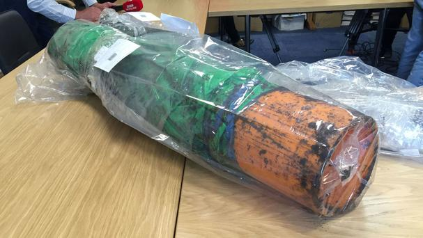 An item recovered from a dissident republican weapons hide which was discovered by police in Northern Ireland