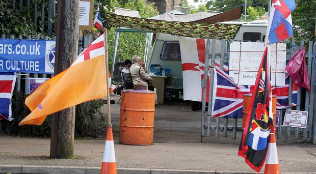 The loyalist protest camp at Twaddell Avenue in north Belfast