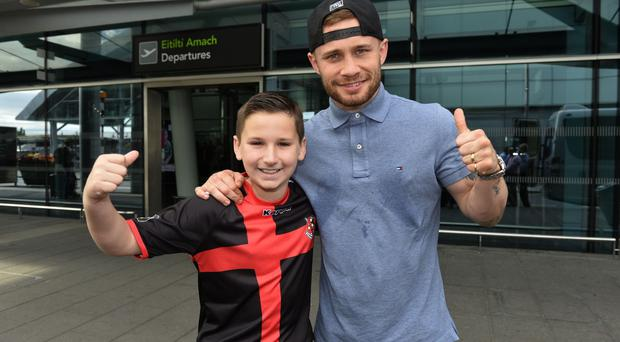 Carl Frampton posing for photos with fans