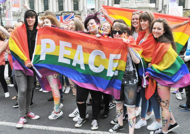 Thousands of people took part in the annual Belfast Pride event in Belfast city centre on Saturday