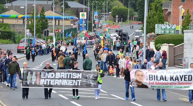 Anti-internment protesters taking part in parade in west Belfast