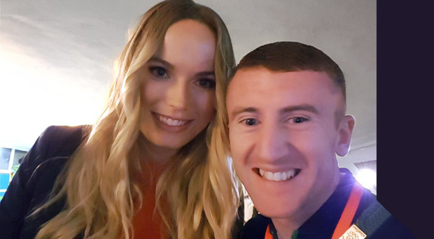 Paddy Barnes with Danish tennis player Caroline Wozniacki (ex-fiancee of Rory McIlroy)