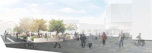 How Buoy Park will look after Communities Minister Paul Givan and Lord Mayor Brian Kingston unveiled Phase 3 of the Belfast Streets Ahead programme