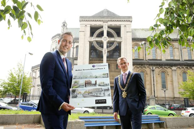 Communities Minister Paul Givan and Lord Mayor Brian Kingston unveiled Phase 3 of the Belfast Streets Ahead programme