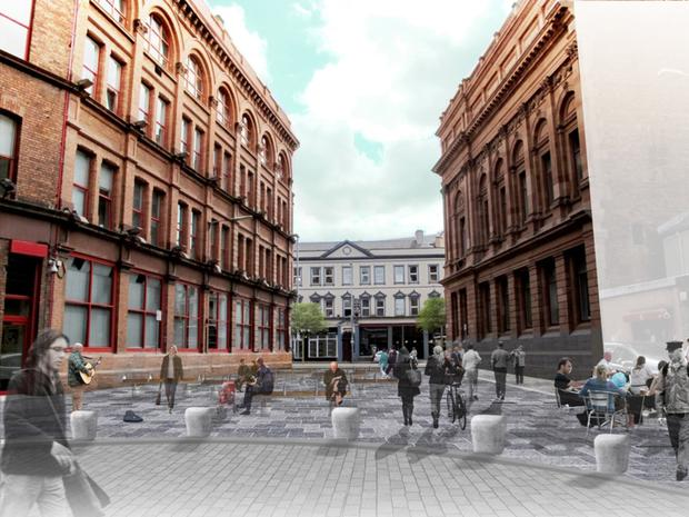How Library Street will look after Communities Minister Paul Givan and Lord Mayor Brian Kingston unveiled Phase 3 of the Belfast Streets Ahead programme
