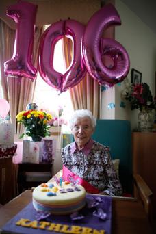 Kathleen Hughes from west Belfast celebrates her 106th birthday at Fruithill Nursing Home