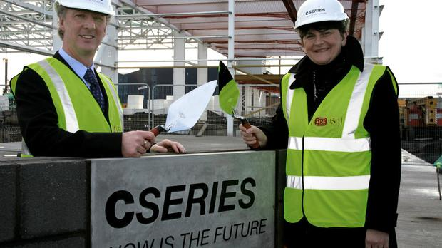 First Minister of Northern Ireland Arlene Foster laid a special cornerstone for a Bombardier aircraft parts base in Belfast.