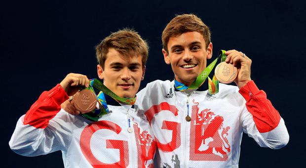 Tom Daley (right) and Daniel Goodfellow with their bronze medals