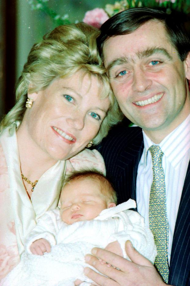 The Duke and Duchess of Westminster with their baby boy Hugh in 1991