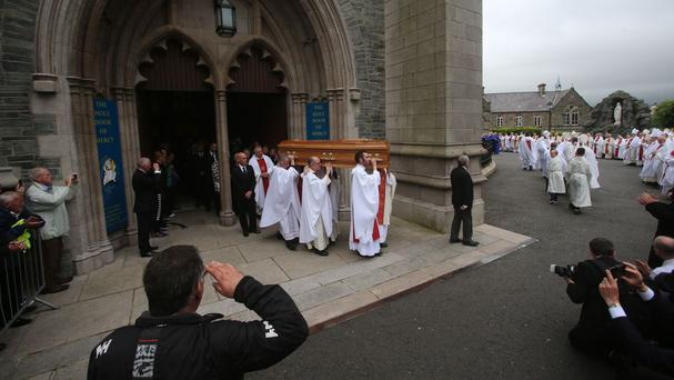 The funeral of retired bishop Edward Daly takes place at St Eugene's Cathedral in Londonderry