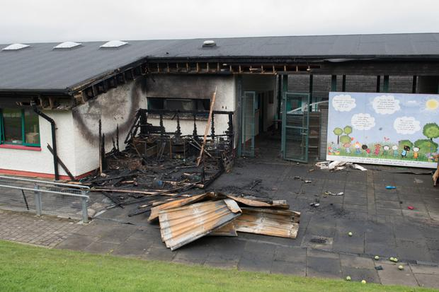 The damage caused by arsonists at the Good Shepherd Primary and Nursery School on the Dungiven Road in Derry's Waterside