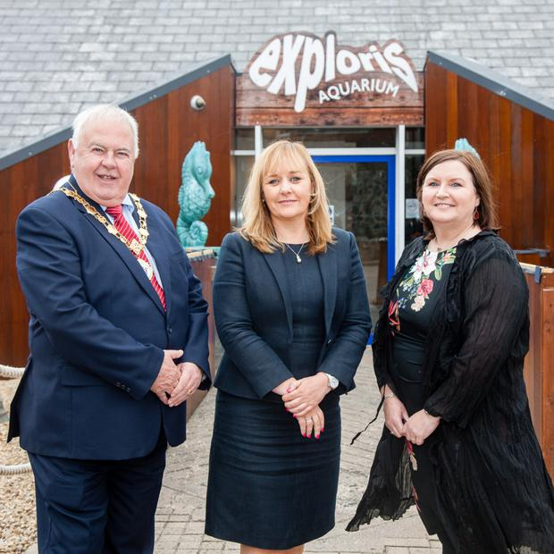 Agriculture Minister Michelle McIlveen (centre) at the refurbished Exploris Aquarium in Portaferry with deputy mayor of Ards and North Down Bill Keery and Exploris general manager Ann Moreland