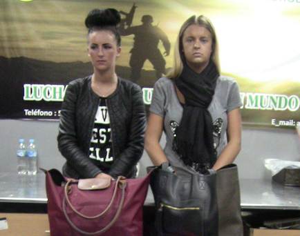 Michaella McCollum Connolly and Melissa Reid after being detained at the airport in Lima, Peru