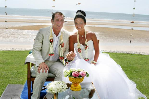 Gerry and Debby Armstrong on their wedding day in Thaliand