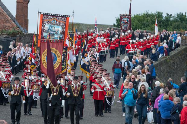 The annual Apprentice Boys Relief of Derry parade makes its way through Derry