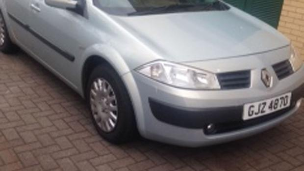 A car similar to the silver Renault Megane found last Tuesday at the entrance to an old quarry on Wheelers Road, Lisburn (PSNI/PA)