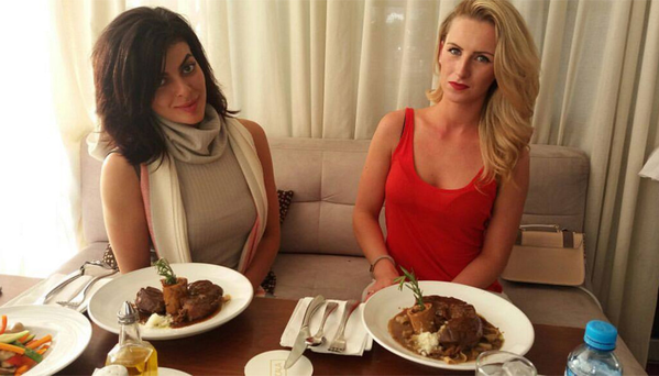 Michaella (right) in top Lima restaurant Cala with her pal Kaouthar Essafi