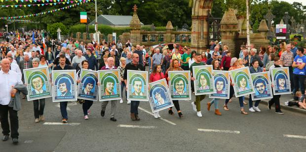The 35th anniversary parade for the hunger strikers in west Belfast yesterday