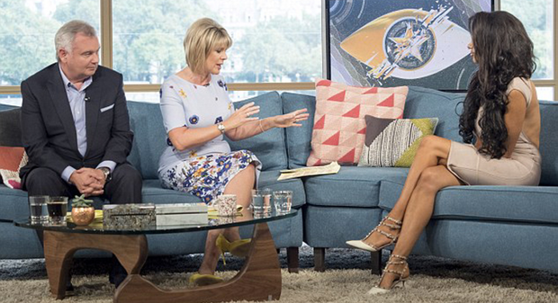 Celebrity Big Brother contestant Chloe Khan (right) during her This Morning interview with Eamonn Holmes and Ruth Langsford yesterday