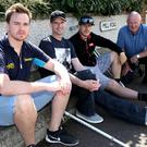 Mervyn Whyte with Nico Mawhinney, Ryan Farquhar and Ben Wilson on their return to the Vauxhall International North West 200 circuit following their crashes this year