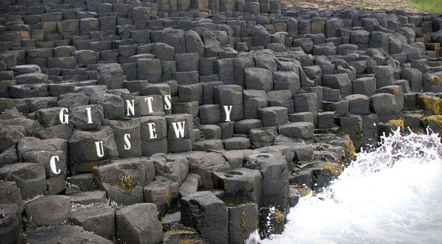 The Giant's Causeway missing the letters A, B and O as part of the Missing Type blood donor campaign (NHS Blood and Transplant/PA Wire)