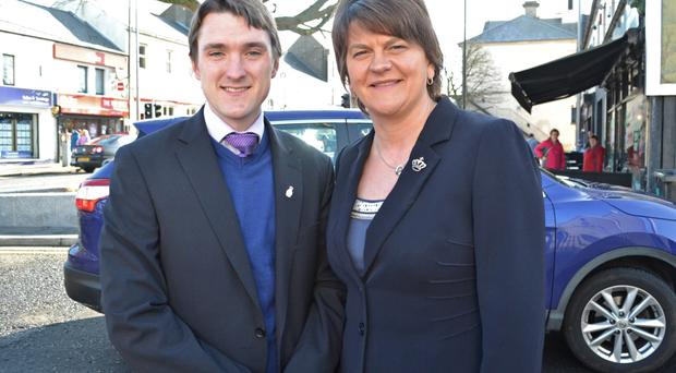 Ex-Ulster Unionist Daniel Allen, who has joined the DUP, with Arlene Foster