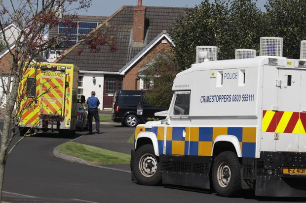 Police and an ambulance at the scene of an incident at Knockantern Grove in Coleraine