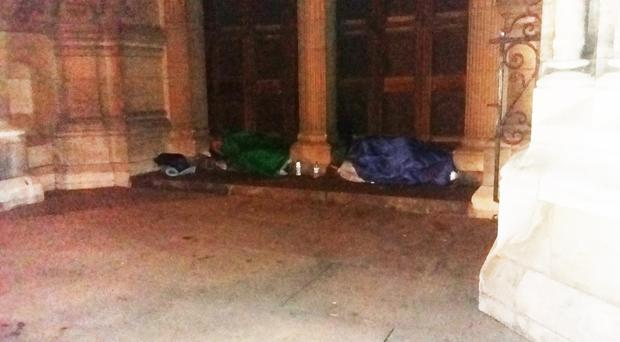 Rough sleepers at St Anne's Cathedral